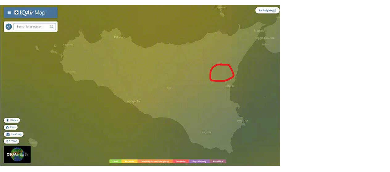 air quality recorded across Sicily